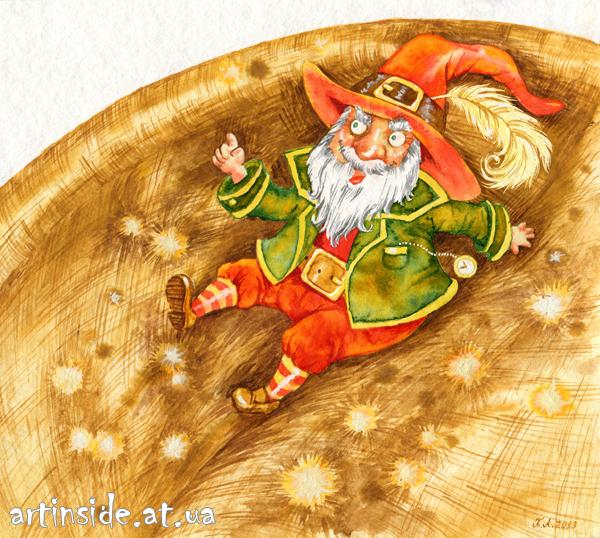 Иллюстрация Нильс, гном, художник Копытова Татьяна
