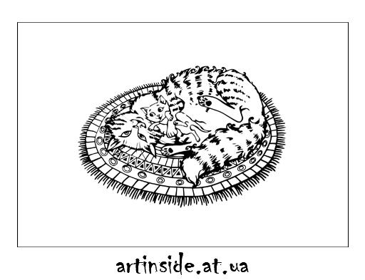 Иллюстрация кошка с котенком