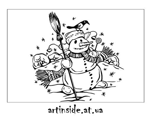 Иллюстрация зима и снеговик