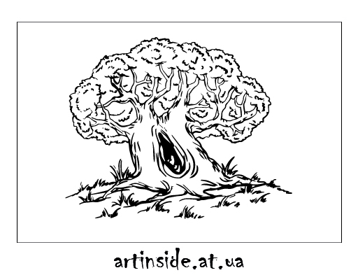 Иллюстрация дерево дуб